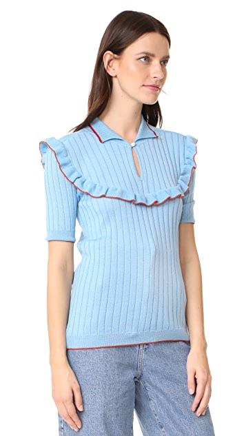 Anna October Short Sleeve Ribbed Ruffle Trim Top