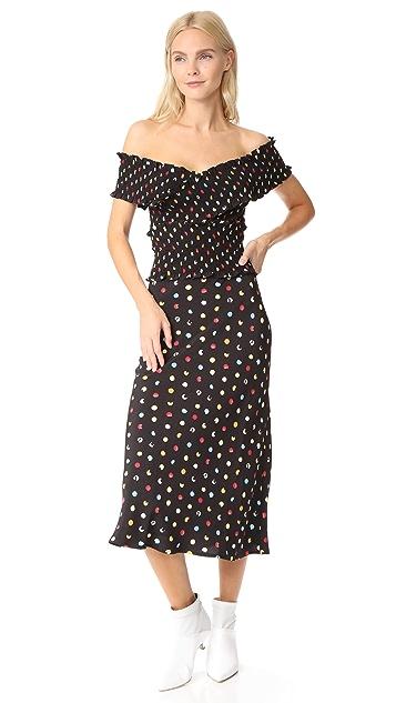 Anna October Polka Dot Off the Shoulder Dress