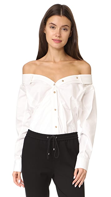 Anna October Off Shoulder Button Up Top
