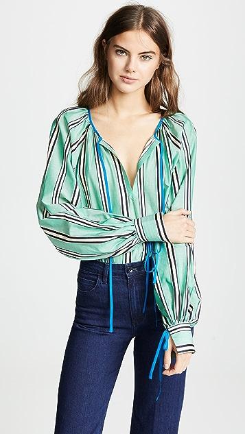 Anna October Блуза в полоску с завязками на шее