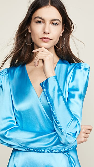 Anna October Long Sleeve V Neck Satin Dress