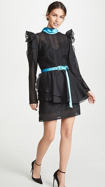 Anna October Puff Sleeve Tulle Ruffle Mini Dress