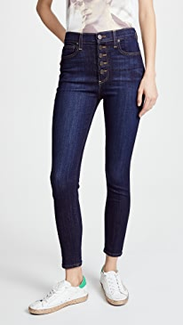 High Rise Exposed Button Jeans