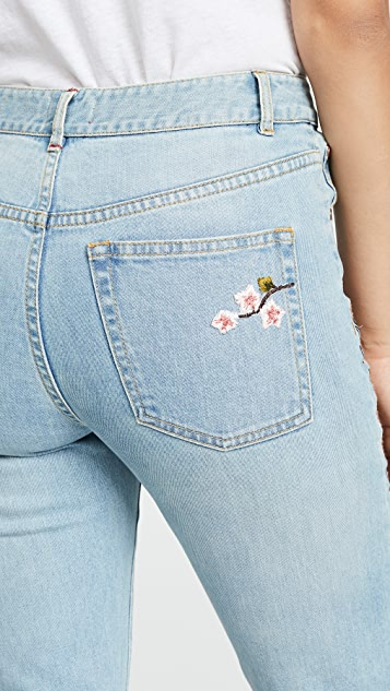 AO.LA by alice + olivia Amazing Embroidered High Rise Jeans