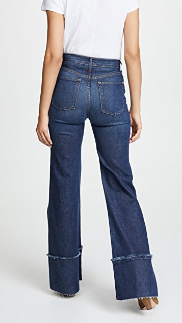 AO.LA by alice + olivia Gorgeous High Rise Trouser Jeans with Exaggerated Hem