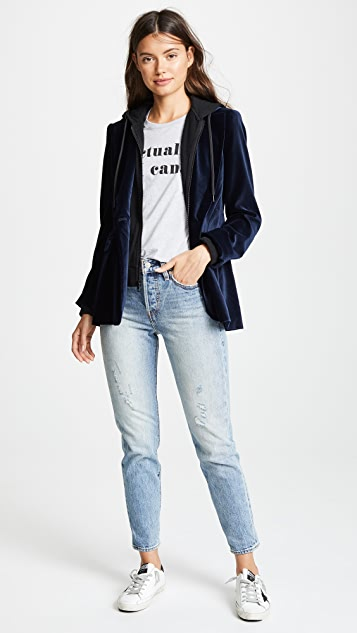 ALICE + OLIVIA JEANS Macey Fitted Blazer with Hood