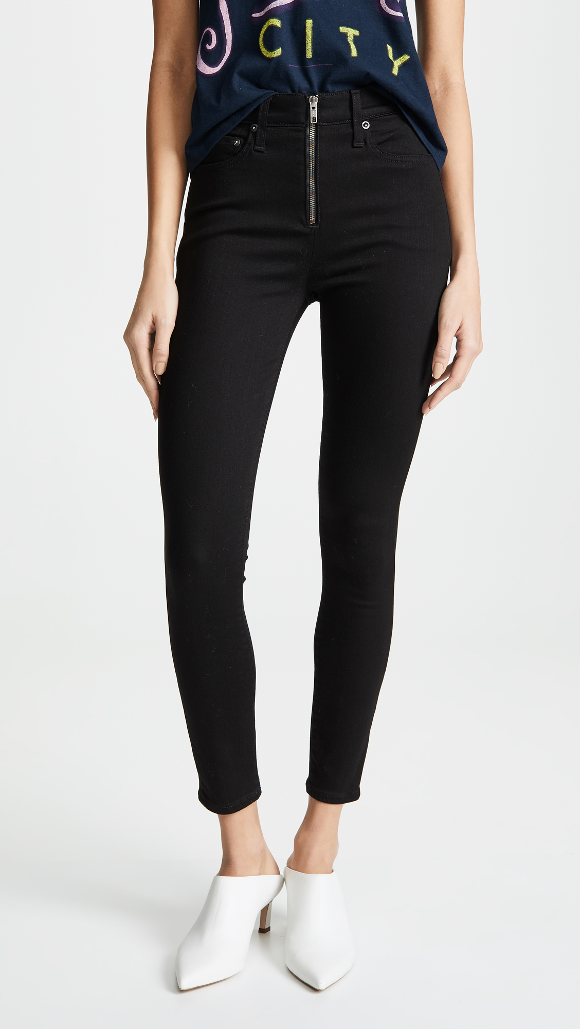AO.LA by alice + olivia Good HR Ankle Skinny Jeans with Exposed Zipper