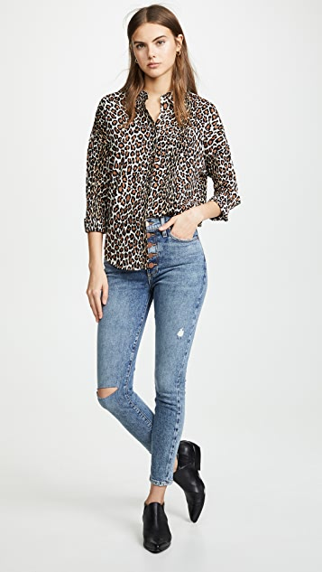 ALICE + OLIVIA JEANS Good High Rise Exposed Button Jeans