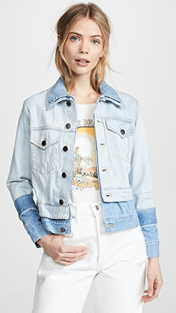 ALICE + OLIVIA JEANS Two Tone Double Jacket