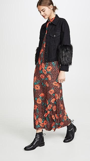 ALICE + OLIVIA JEANS 皮毛装饰衣袖短夹克