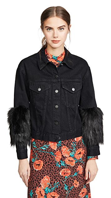 ALICE + OLIVIA JEANS Cropped Jacket with Faux Fur Sleeve