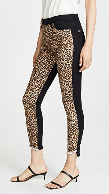 ALICE + OLIVIA JEANS Good High Rise Skinny Jeans with Leopard Print