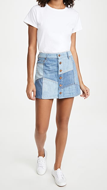 ALICE + OLIVIA JEANS Good High Rise Patchwork Skirt