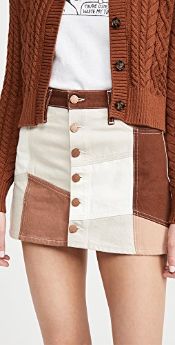 ALICE + OLIVIA JEANS - Good High Rise Patchwork Skirt