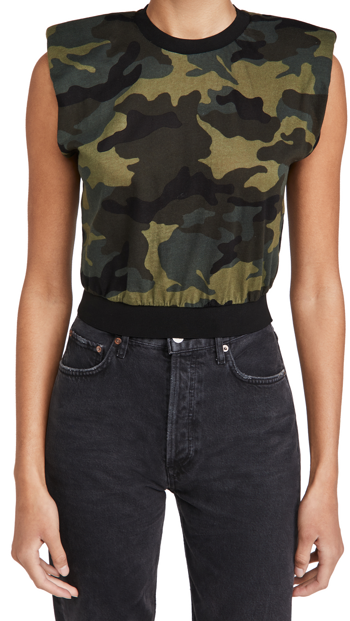 ALICE + OLIVIA JEANS Kendrick Strong Shoulder Top