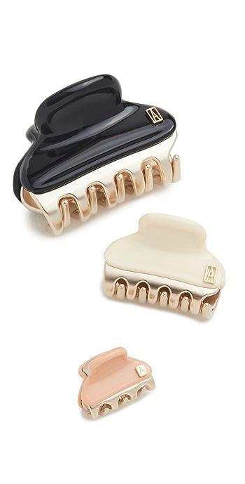 Alexandre de Paris Set of 3 Hair Clips - Cream/Rose/Black