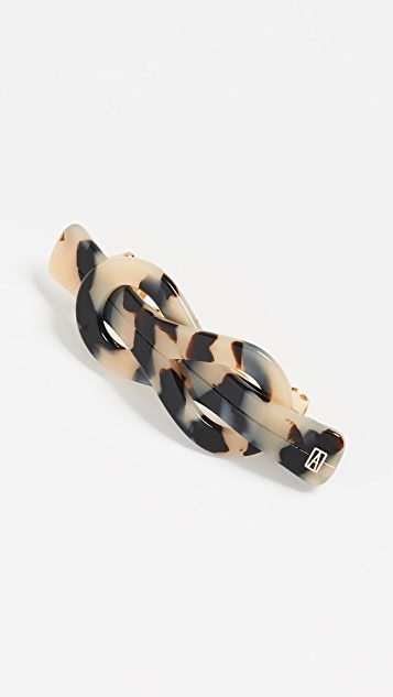 Alexandre de Paris Twisted Knot Barrette - Black/White Tortoise