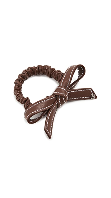 Alexandre de Paris Leather Elastic Bow Hair Tie