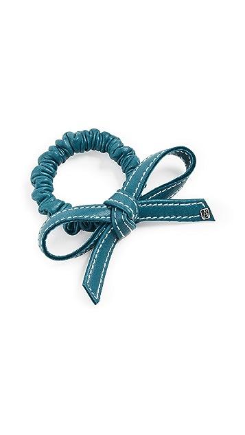 Alexandre de Paris Leather Elastic Bow Hair Tie