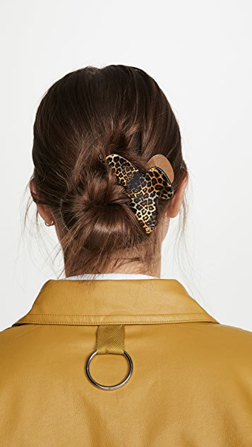 Alexandre de Paris Заколка для волос с леопардовым принтом