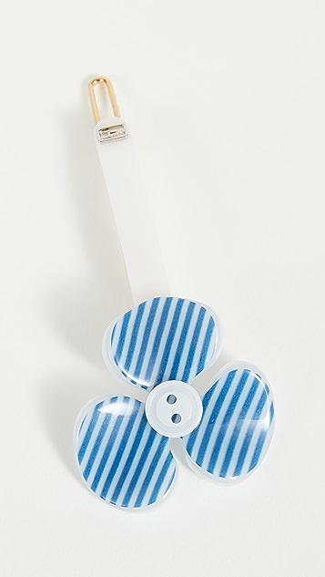 Alexandre de Paris Striped Flower Clip