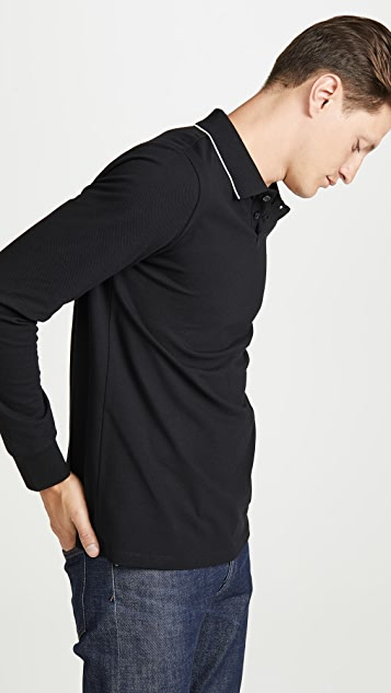 A.P.C. Long Sleeve Pique Polo Shirt