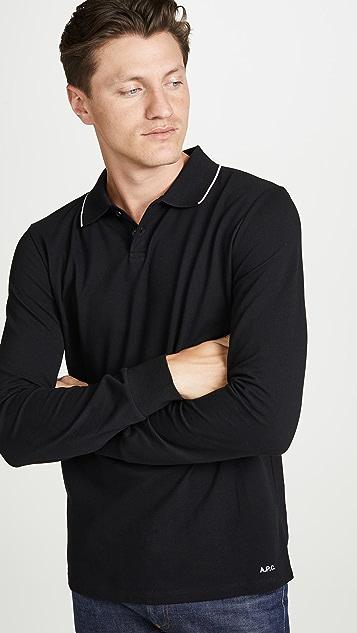 A.P.C. Long Sleeve Pique Polo Shirt
