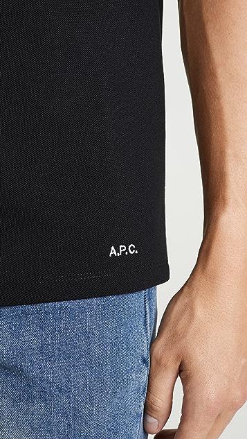 A.P.C. Short Sleeve Pique Polo Shirt