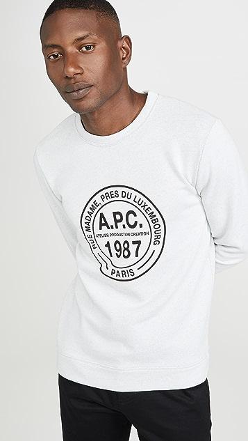 A.P.C. Long Sleeve Crew Neck Elvis Sweatshirt