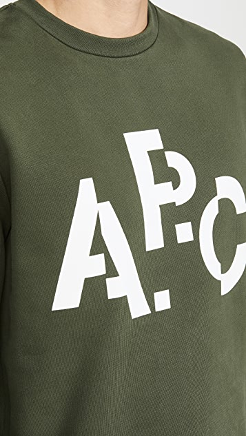 A.P.C. Long Sleeve Crew Neck Decale Sweatshirt
