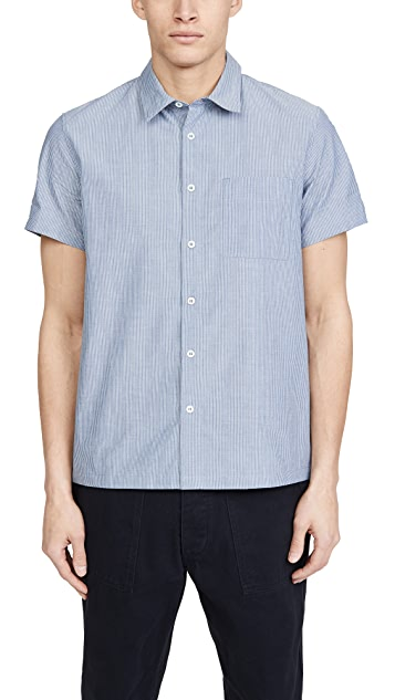 A.P.C. Short Sleeve Shirt With Denim Pocket