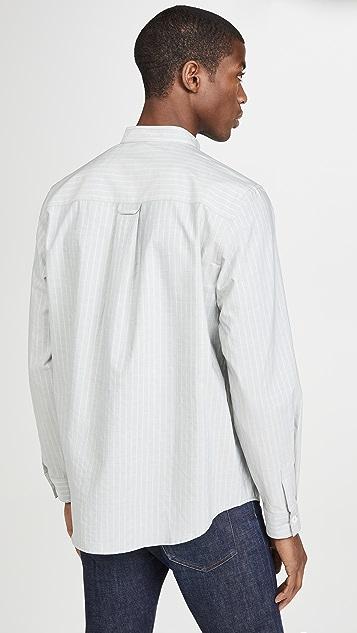A.P.C. Long Sleeve Striped Band Collar Shirt