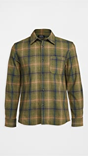 A.P.C. Trek Wool Flannel Plaid Shirt Jacket