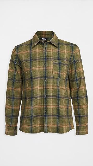 A.P.C. Trek Wool Flannel Plaid Shirt Jacket