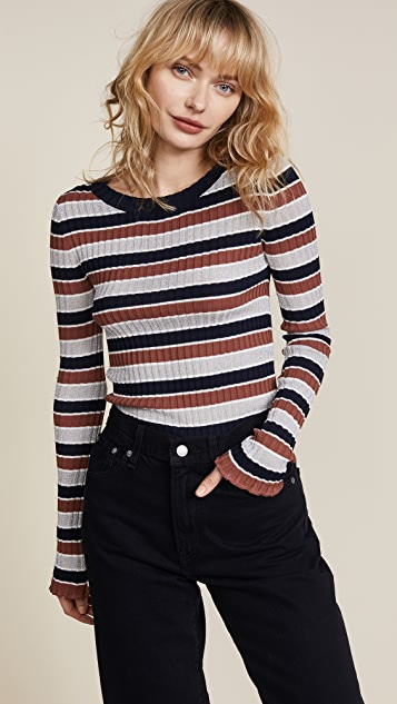 Apiece Apart Stripe Rib Sweater