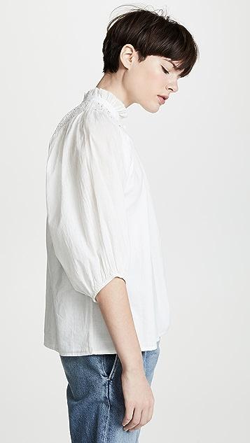 Apiece Apart Блуза Vera с оборками с прорезями