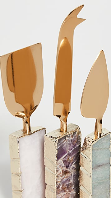 Anthropologie Agate Cheese Knives