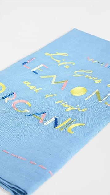 Anthropologie 有机柠檬图案干毛巾布