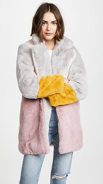 Apparis Lisa Colorblock Faux Fur Coat