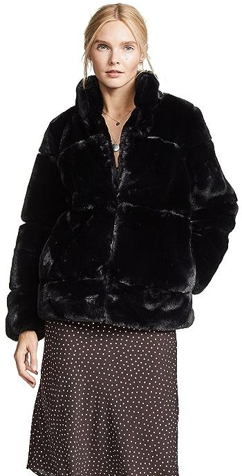Apparis Sarah Quilted Faux Fur Coat - Noir