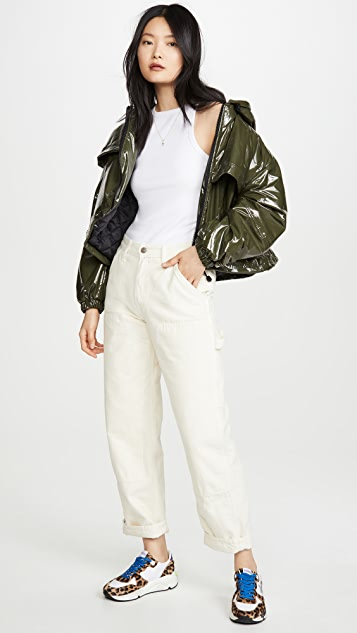Apparis Colby Cropped Vegan Leather Bomber