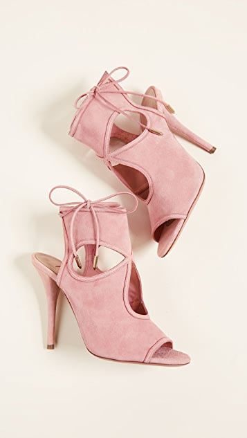 Aquazzura Sexy Thing Cutout Booties - Jaipur Pink