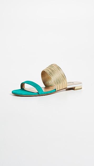 Aquazzura Rendez Vous Flat Sandals - Indian Emerald/Gold/White