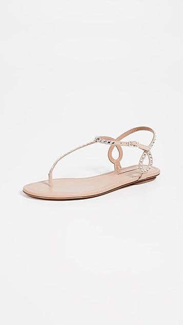 f39a85fc555a5 Aquazzura Almost Bare Crystal Flat Sandals