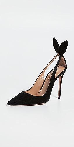 Aquazzura - 蝴蝶结绑带浅口高跟鞋 105mm