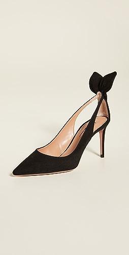 Aquazzura - 蝴蝶结绑带浅口高跟鞋 85mm