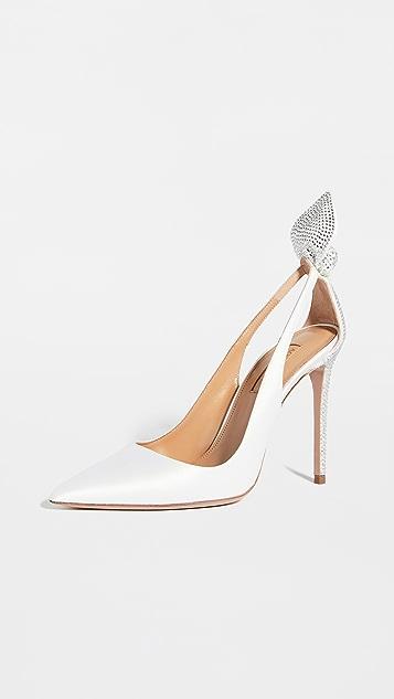 Aquazzura 蝴蝶结绑带水晶高跟鞋 105mm