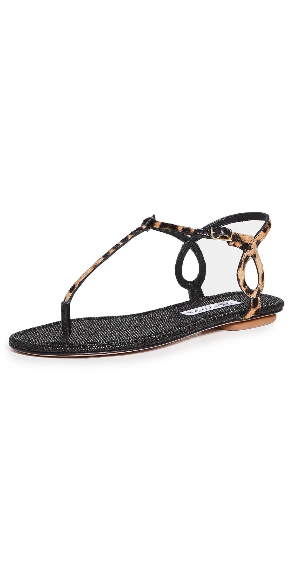 Aquazzura Almost Bare Pony Flat Sandals