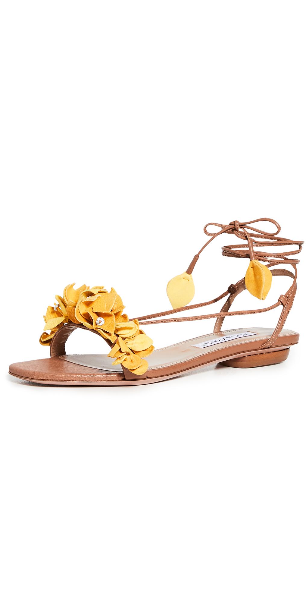 Aquazzura Bougainvillea Laced Flat Sandals