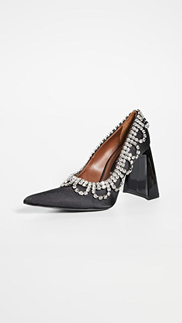 "Area Scalloped Crystal ""A"" Heel Pumps"
